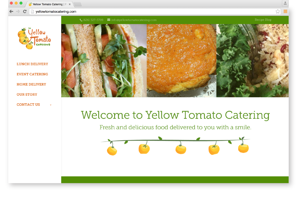 Yellow Tomato Website Homepage