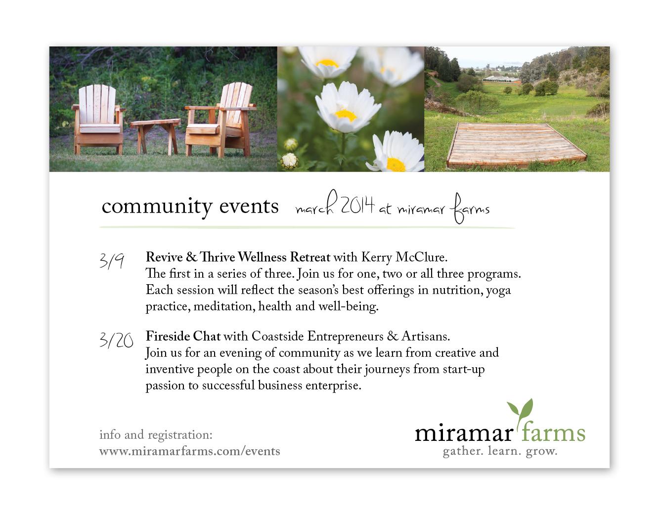 Miramar Farms Event Postcard - Front
