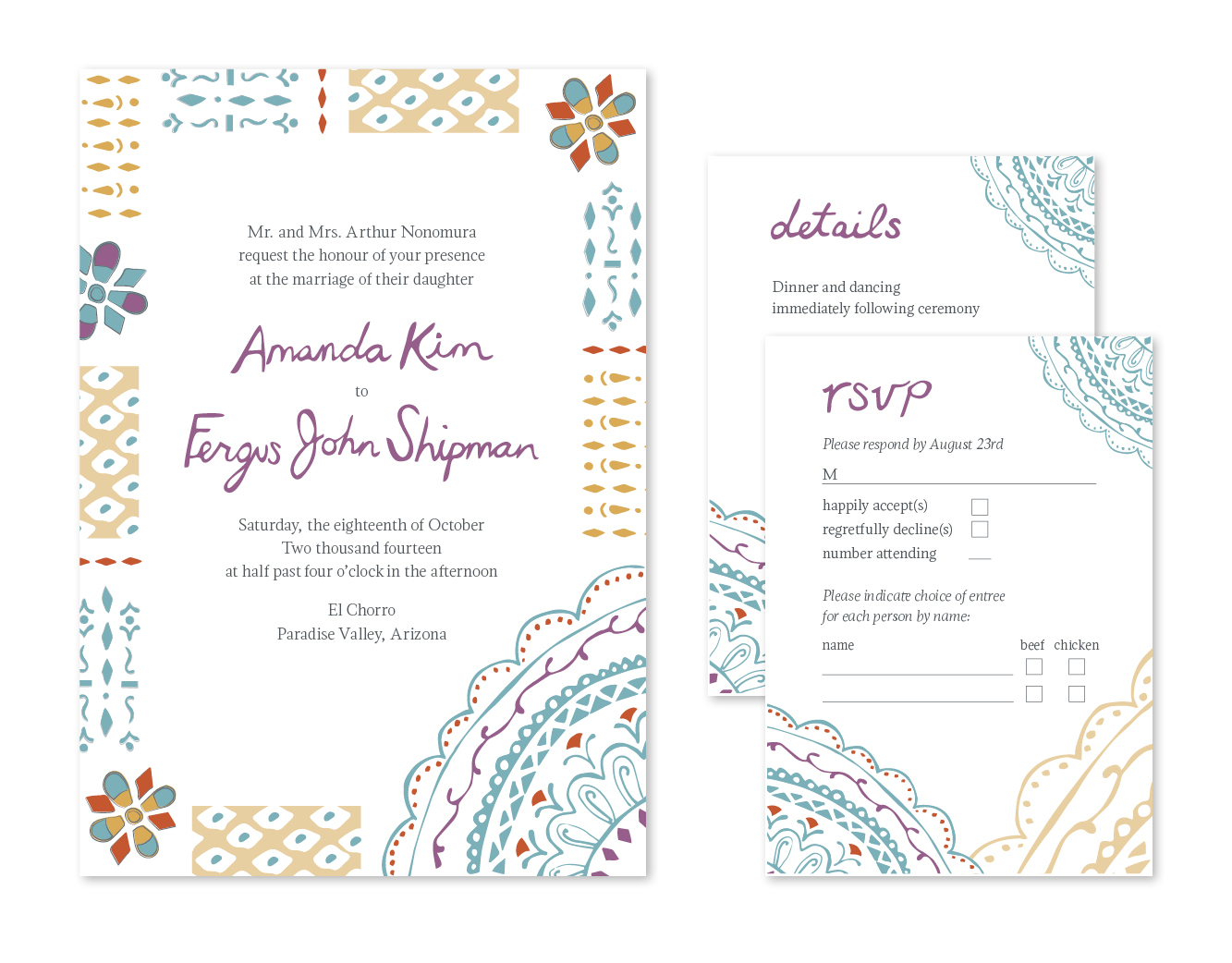 Southwest Patterned Wedding Invitations