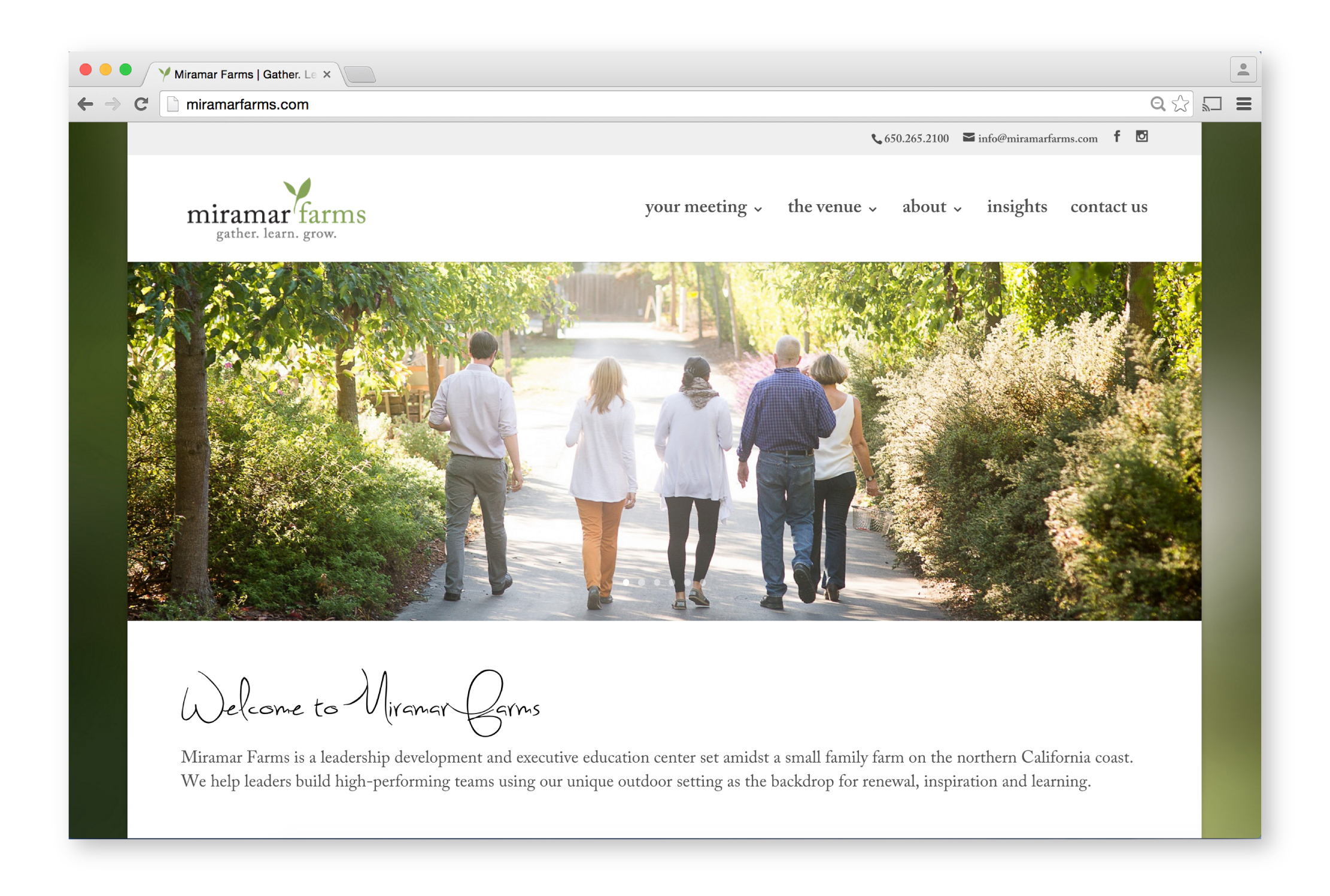 Miramar Farms Website Homepage